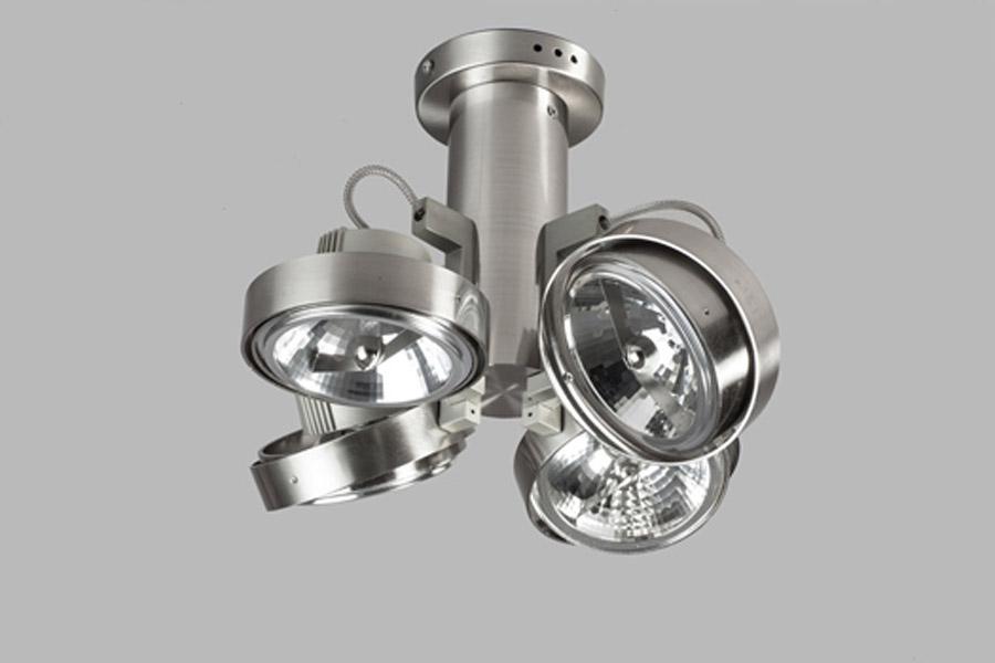 Plafondlamp lofar projectspot 4 buis lichts metaal for Industriele spots